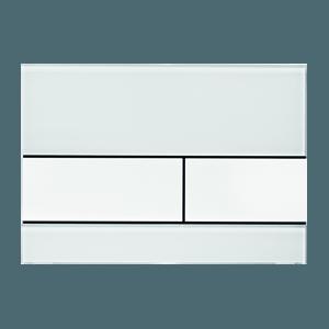 Ovládací WC modul  Square s mléčným sklem a bílými tlačítky z plastu