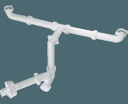 BAZOOKA SPACE umyvadlový sifon šetřící místo pro dvojumyvadlo, bílý ( 2920CP32B0 )