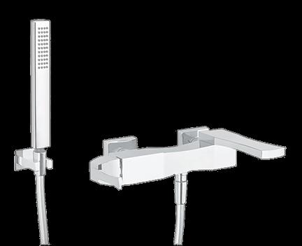 Vanová baterie OPÉRA + ruční sprška + hadice + úchytka na ruční spršku | nástěnná | bílá mat