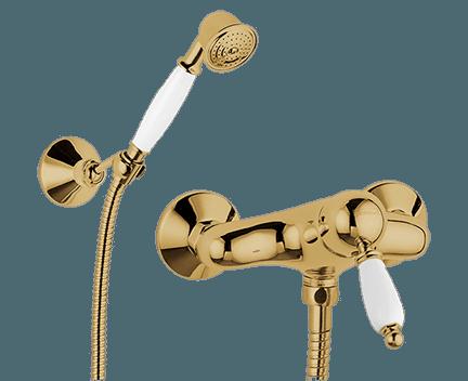 Sprchová baterie RETRO | nástěnná | páková | s ruční sprchou | bronz