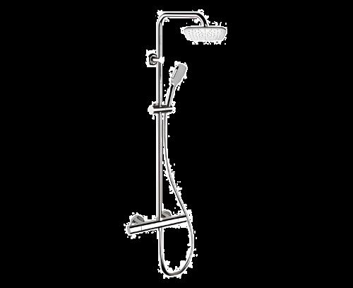 EQ | Sprchový set X STYLE | nástěnný | tertmostatický | 200 x 200 mm | černá s dekorem lesk