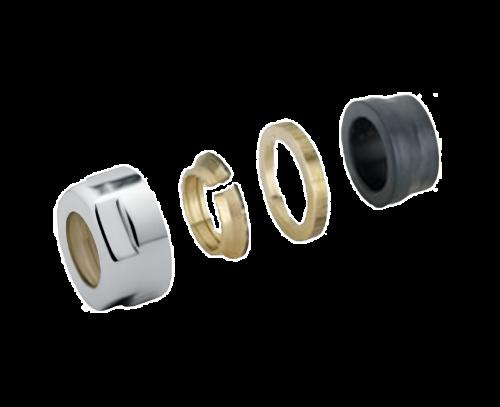 Svěrné šroubení pro ventil CUBE (CET, -CE, -T), LINE, sada 2 ks | pro měď 15mm | chrom