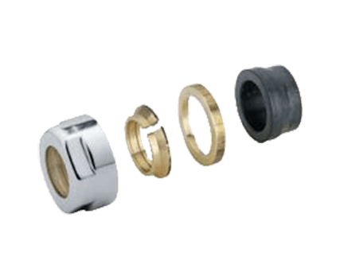 Svěrné šroubení pro ventil CUBE-COM, sada 2 ks | pro měď 15mm | chrom