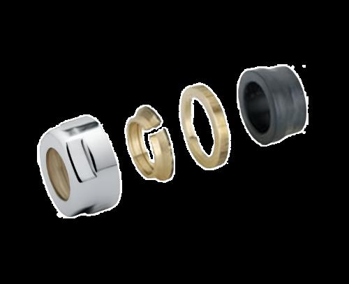 Svěrné šroubení pro ventil COMBI, EASY, TWIN, TWIN-COMBI, ONE, sada 2 ks   pro měď 15mm   chrom
