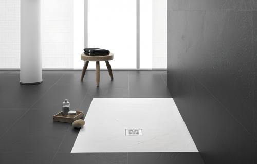 Marina 70 | sprchová vanička s texturou břidlice | 700 x 700 | bílá