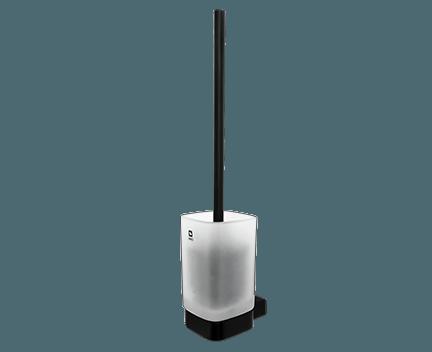 WC kartáč Kibo se skleněnou nádobou | černá mat