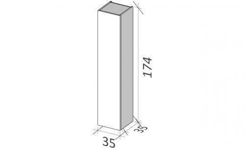 Vysoká boční skříňka BUDDY | 350 x 1740 x 350 mm | dveře | Frosted | bezuchyt černá