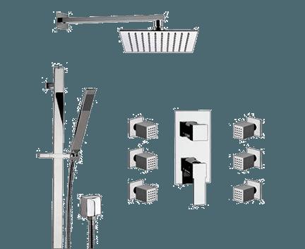 Q 937 S01 UFS | Sprchový set Qubika | podomítkový | se závěsnou hlavicí | 300 x 300 mm | růžové zlato lesk