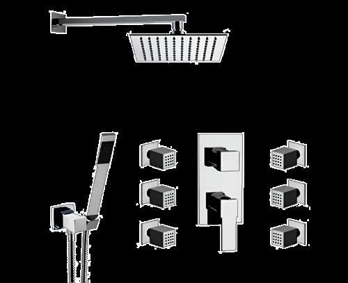 Q 937 S02 UFS | Sprchový set Qubika | podomítkový | se závěsnou hlavicí | 300 x 300 mm | zlatá mat