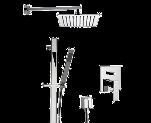 Q 09 S01 | Sprchový set Qubika | podomítkový | se závěsnou hlavicí | 200 x 200 mm | chrom lesk