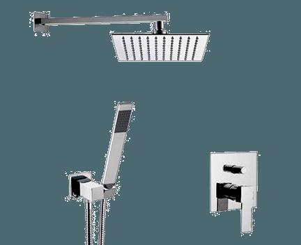 Q 09 S02 | Sprchový set Qubika | podomítkový | se závěsnou hlavicí | 200 x 200 mm | chrom lesk