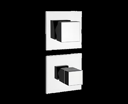 QT94C | Podomítkový modul QUBIKA THERMO | čtyřcestný | termostatický | chrom lesk