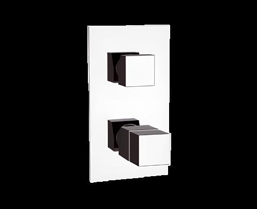 QT92 | Podomítkový modul QUBIKA THERMO | dvoucestný | termostatický | chrom lesk