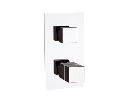 QT94 | Podomítkový modul QUBIKA THERMO | čtyřcestný | termostatický | chrom lesk