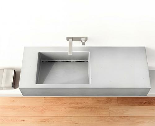 Umyvadlo SLANT 01 SINGLE   1200 x 450 x 130    na desku nebo závěsné   šedá   beton