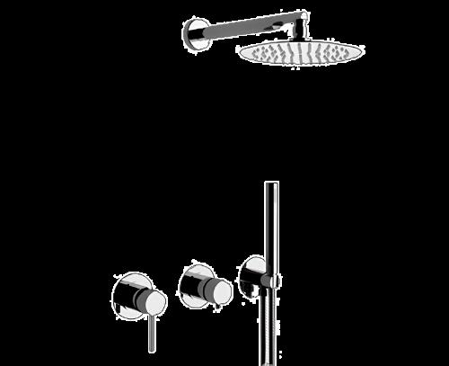Sprchový set X STYLE   podomítkový   se závěsnou hlavicí   Ø 200 mm   černá s dekorem lesk