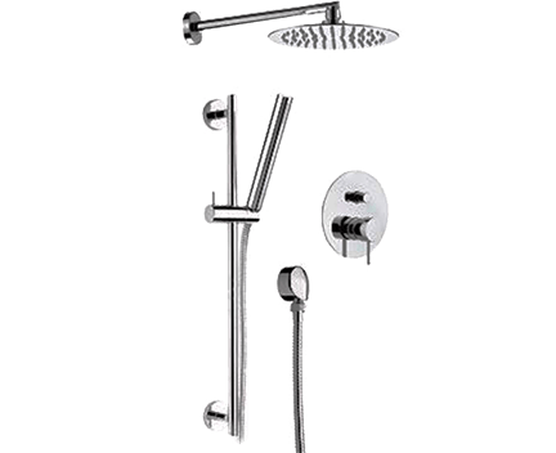 Sprchový set X STYLE   podomítkový pákový   se závěsnou hlavicí  Ø 200 mm   chrom lesk   černá s dekorem lesk