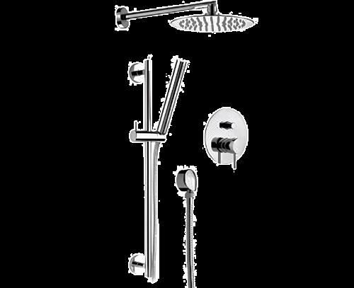 Sprchový set X STYLE | podomítkový pákový | se závěsnou hlavicí  Ø 200 mm | chrom lesk | mosaz stařená