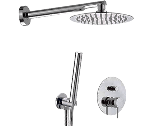 Sprchový set X STYLE   podomítkový pákový   se závěsnou hlavicí  Ø 200 mm   černá s dekorem lesk