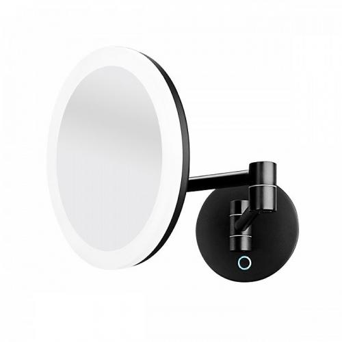 Kosmetické zrcátko Nimco  | kulaté | s osvětlením | černá